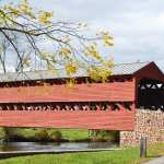 Sach's red wooden covered Bridge