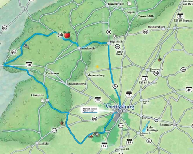 Gettysburg back road Scenic Tour Map