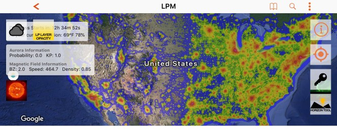 A screenshot of a light pollution map, reflecting heavy concentrations of light pollution in the eastern United States, compared to relatively minimal light pollution in much of the western United States.