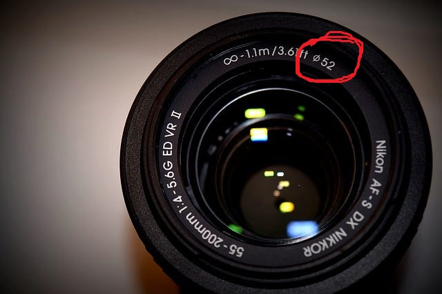 Nikon lens opening showing the filter size, zoom range, focal range, and more. A great fast lens for milky way photography