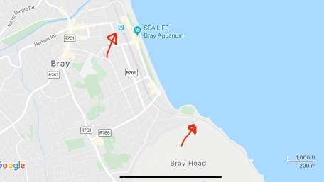 Map of Bray Ireland, showing the trail head for the coastal cliff walk