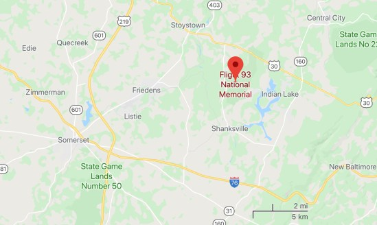Map of the Flight 93 Memorial, north east of Somerset PA