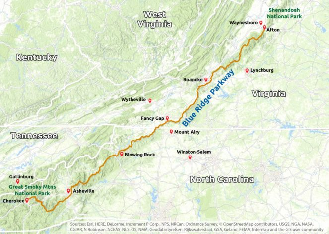 Map of the full length of the Blue Ridge Parkway through North Carolina and Virginia