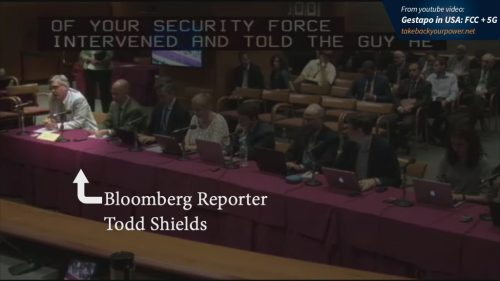 Bloomberg reporter Todd Shields had his credentials confiscated — for talking with a former Congressional candidate about 5G and health concerns.