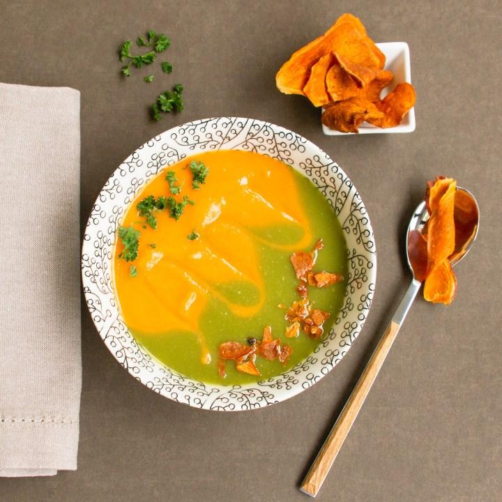 Zum Muttertag – raffinierte zweifarbige Cremesuppe aus der Süßkartoffel und dem Spargel