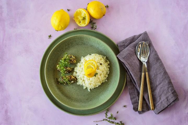 Zitronenrisotto mit gebratenem Erbsenkürbis - Herbstgericht