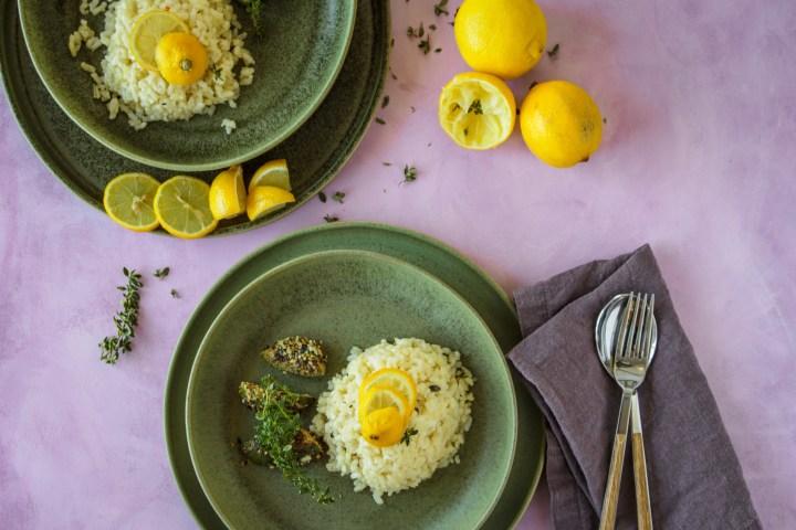 Zitronen-Risotto mit gebratenem Erbsenkürbis