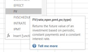 Future Value formula in Excel