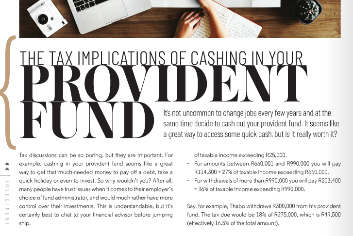 Tax implications of cashing in your provident fund - Estate Living May 2019