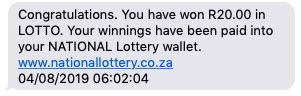 R20 winnings in the National Lotto