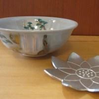 盛夏の抹茶茶盌 水蓮とか瀧とか