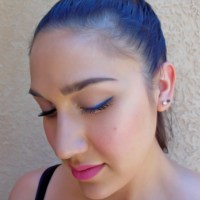 Today's Look - Blue Eyeliner with Pink Cheeks & Lips!