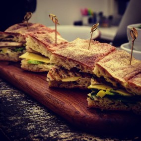 ciabatta with chargrilled chicken, cheese and avocado