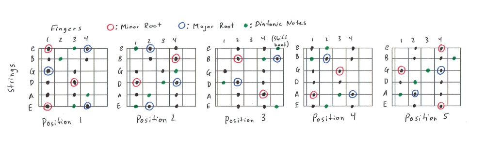 medium resolution of 5 position diatonic scale charts