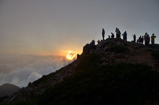 大天井岳 山頂 日の入り