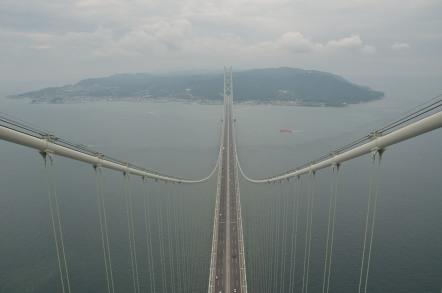 明石海峡大橋 ブリッジワールド 淡路島方面の展望