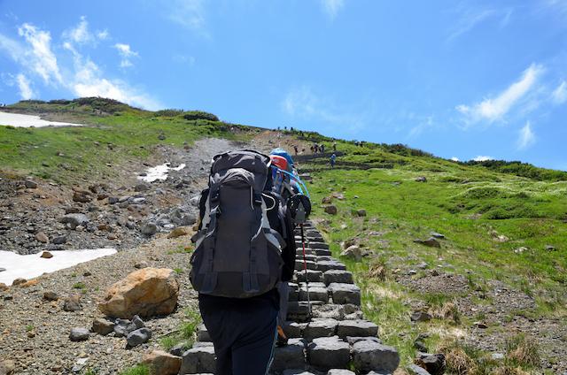 雷鳥沢キャンプ場からの階段