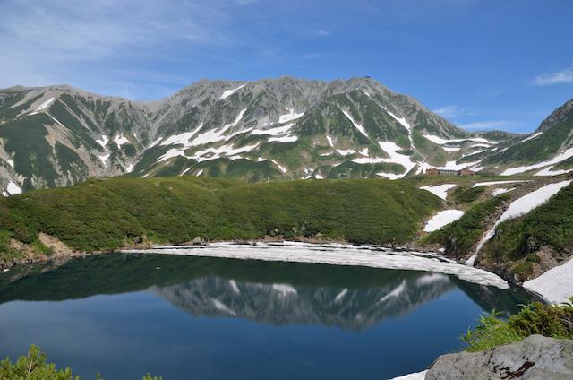 みくりが池 逆さ立山三山