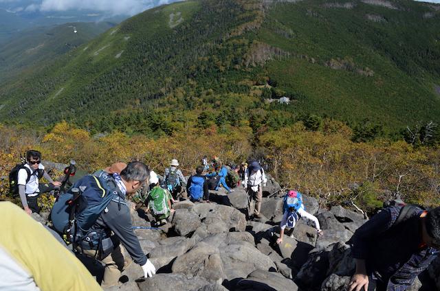 蓼科山 山頂〜赤谷の分岐