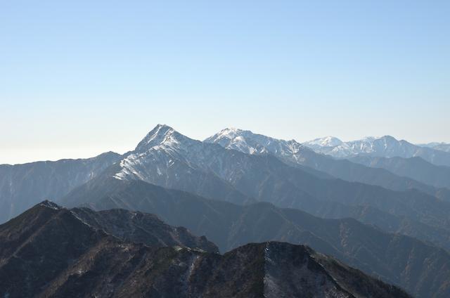 甲斐駒ヶ岳からの眺め 北岳 塩見岳 荒川三山