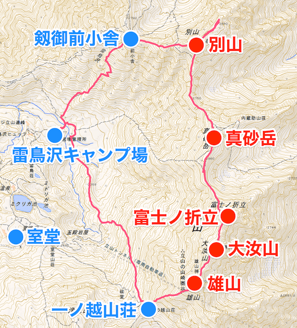 立山三山 縦走地図 時計回りルート