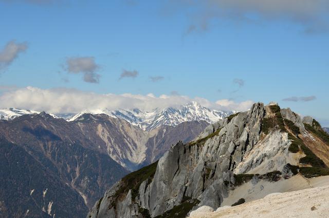 燕岳 山頂からの眺め 烏帽子岳、南沢岳、立山三山