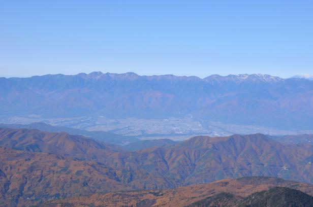 仙丈ヶ岳 山頂 中央アルプス方面
