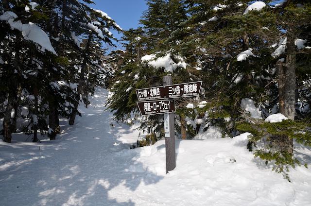 北横岳 登山 冬 三ツ岳分岐