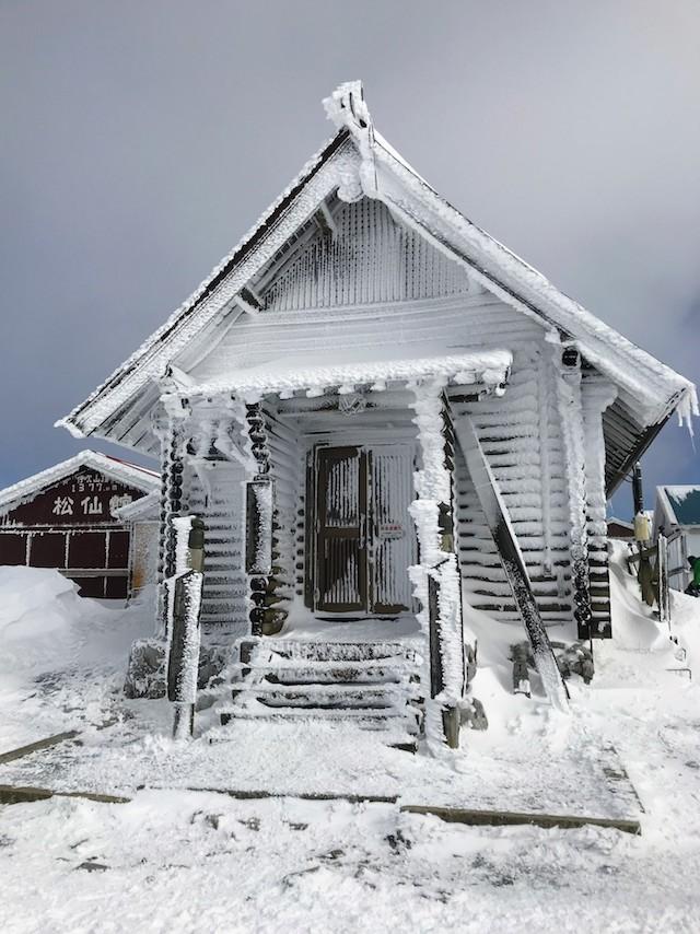 伊吹山 冬 雪山登山 山頂 伊吹山寺