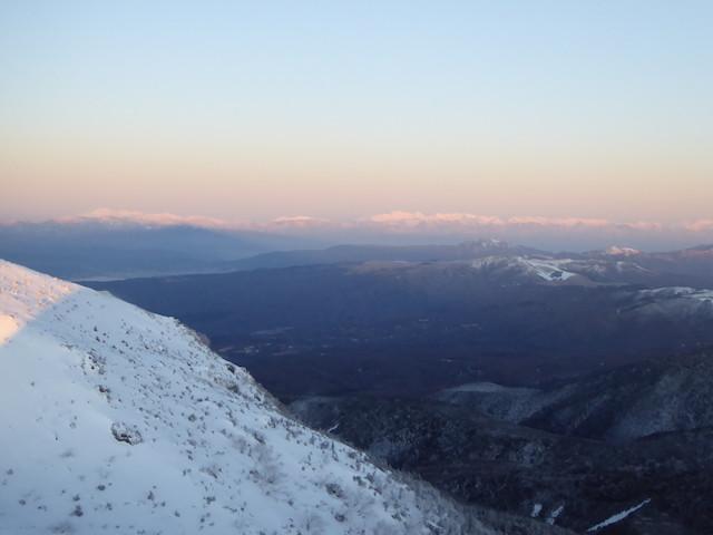 八ヶ岳 天狗岳 厳冬期 山頂からの眺め 中央アルプス、御嶽山、北アルプス南部
