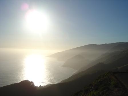 hazy pacific coast near sunset, from nacimiento road