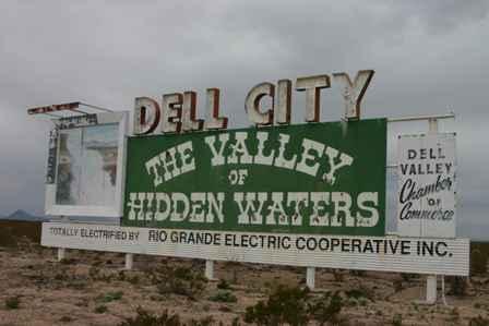 Dell City Valley of Hidden Waters Billboard Sign