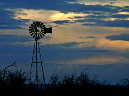 Windmill at sunset, west Texas