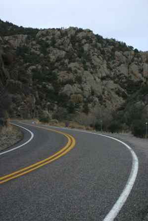 Curvy road along Route 152, New Mexico