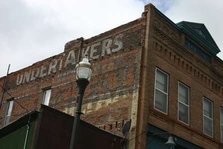 Victor, Colorado streets and old buildings, Undertakers