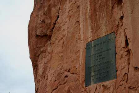 plaque, rock outcroppings at Garden of the Gods, Colorado Springs