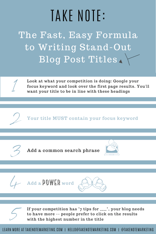 The Fast, Easy Formula to Writing Stand-out Blog Post titles