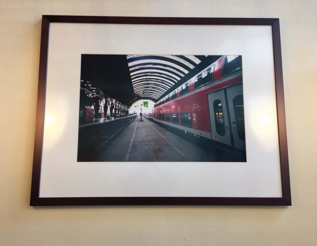 Railway photographs in the McDonalds at Union Station in Washington DC.