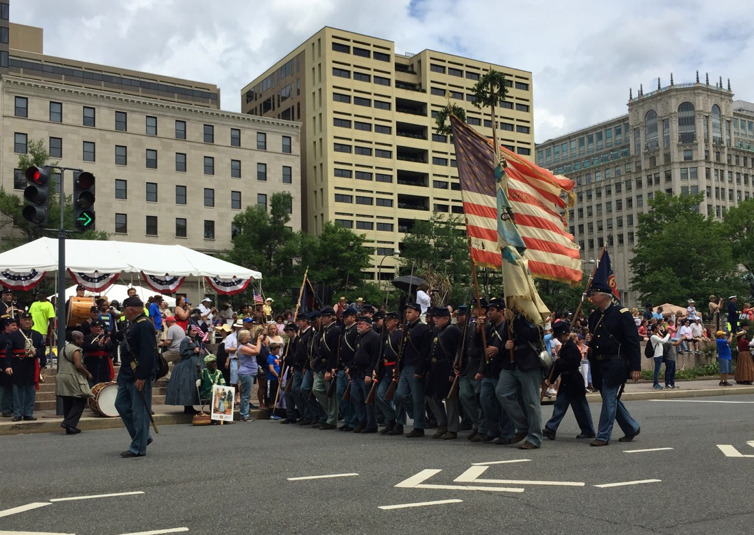 parade to mark the 150th anniversary of US civil war as union soldiers march down pennsylvania ave in washington dc