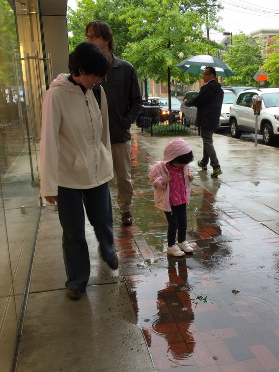 walking in a rain storm in bethesda, maryland