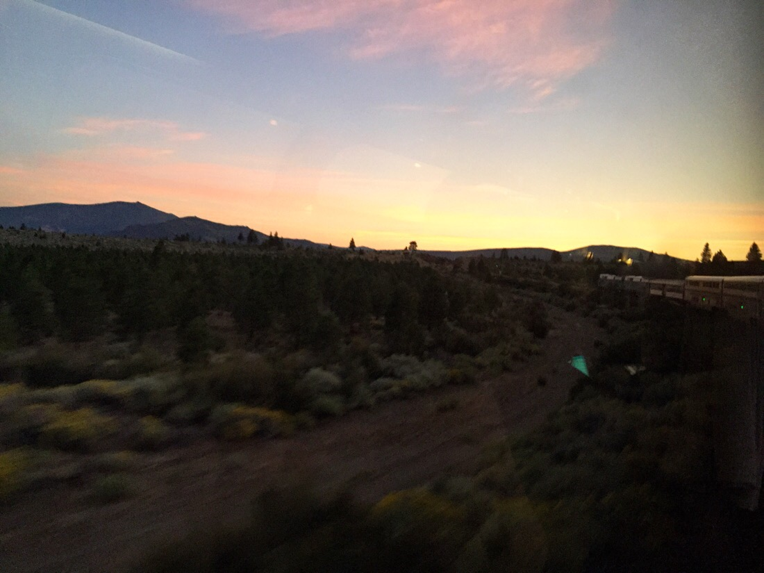 sunrise in oregon on the amtrak coast starlight