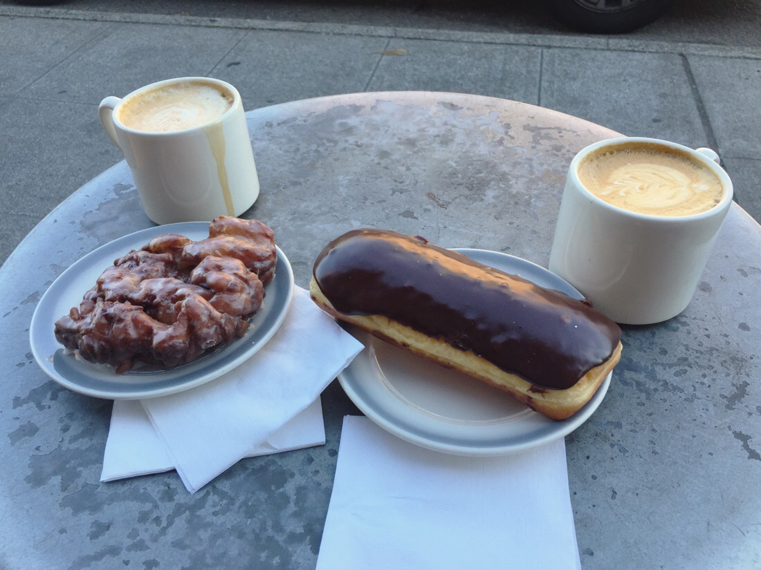 coffee and doughnuts at top pot in seattle