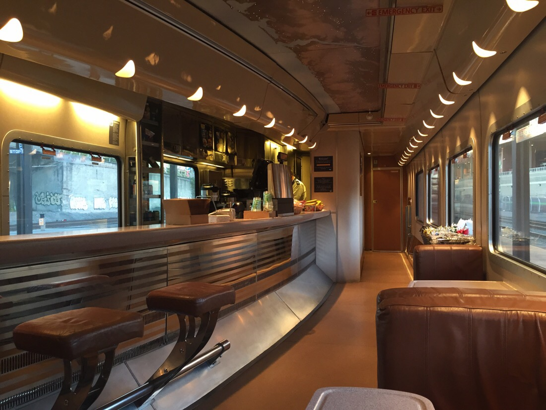 bistro car on amtrak cascades train