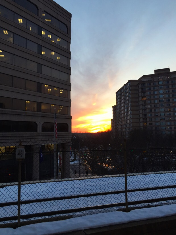 sunset at the silver spring transit center in silver spring, md