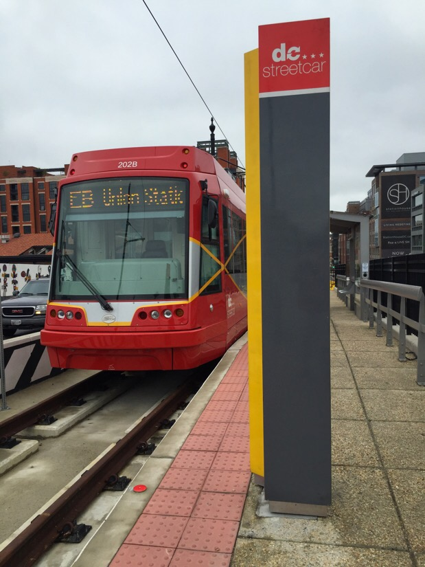 dc streetcar on h street in washington dc
