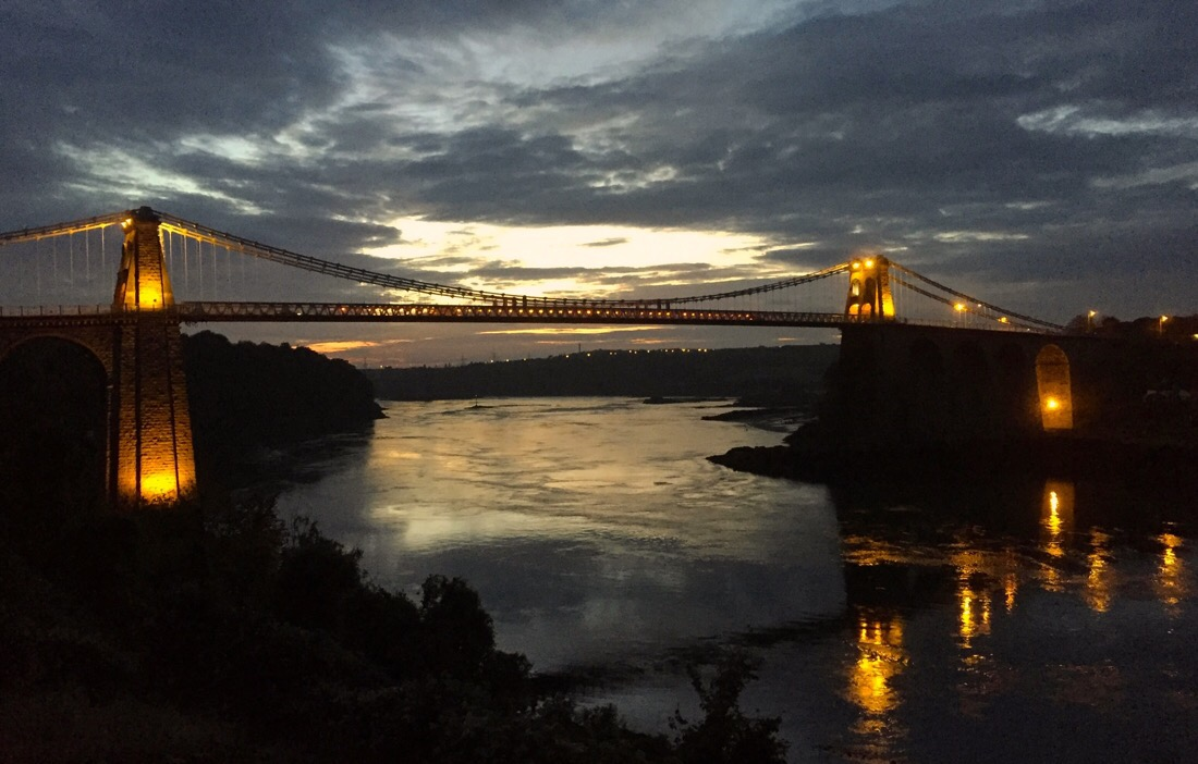 Bridges at menai strait in wales