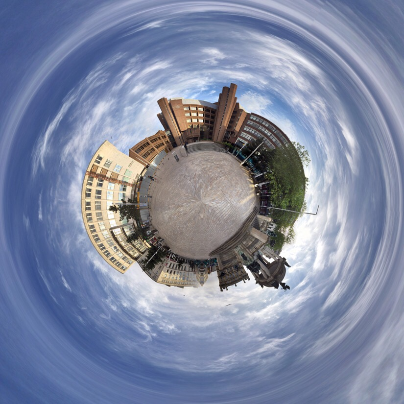 Panoramic of derby square in Liverpool edited with tiny planet pro.