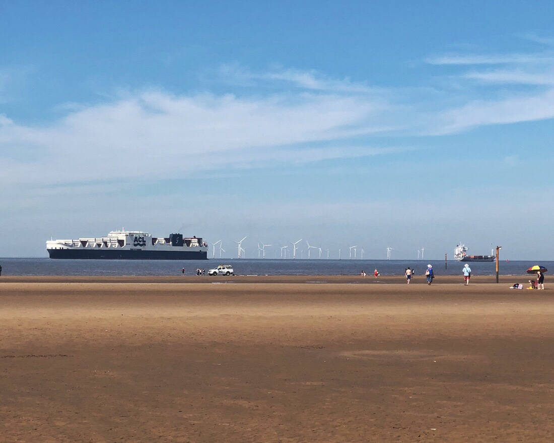 ACL container ship Atlantic Star passing Crosby beach just outside Liverpool.