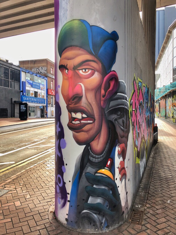 Street art in the city centre of Birmingham, uk.