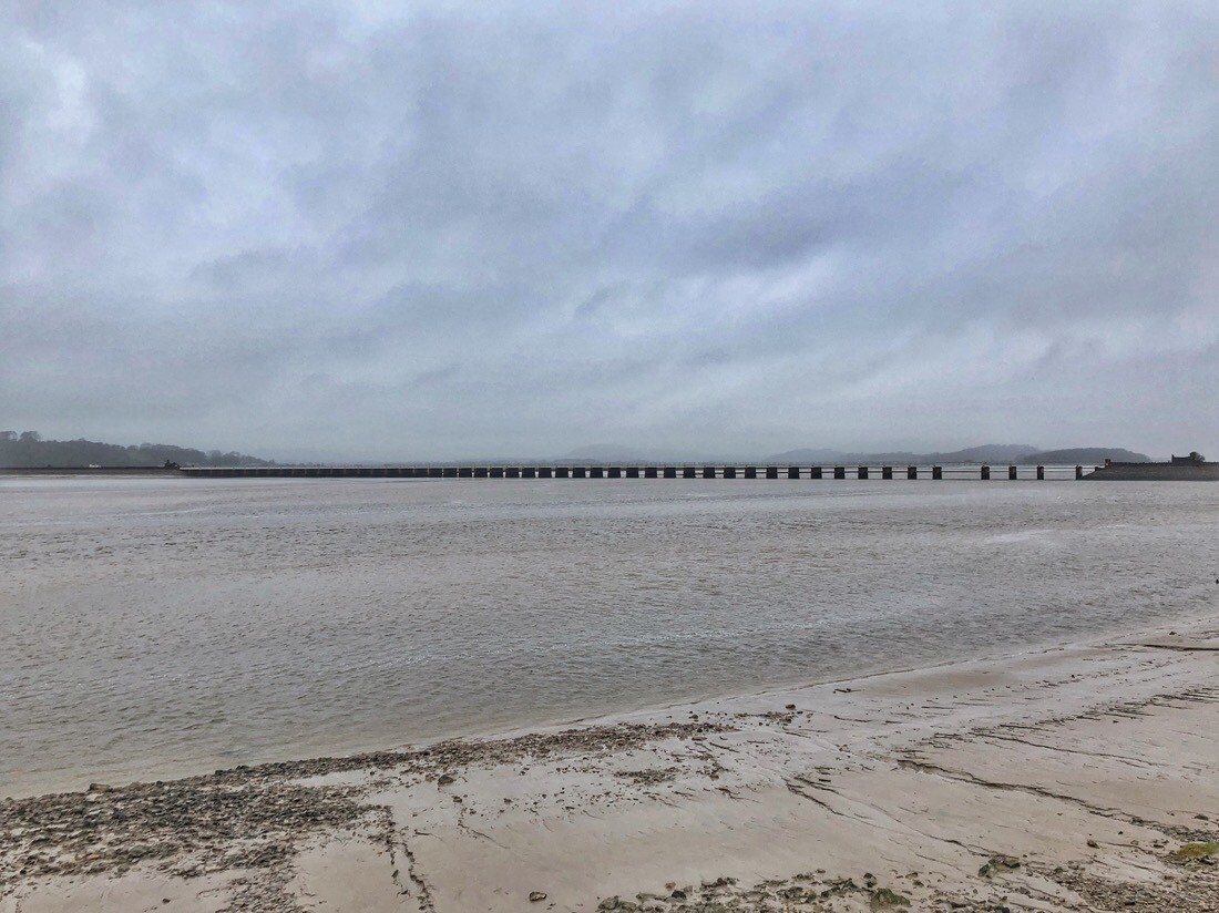 Arnside viaduct crossing the River Kent at Arnside, Cumbria on the north west coast of England.